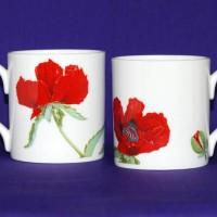 Red Oriental Poppies Bone China Mug