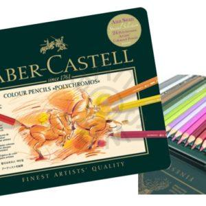 Faber-Castell Polychromos Tin Of 24 Colour Pencils (Ann Swan Selection)