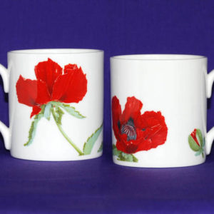 Red Oriental Poppies Bone China Mug